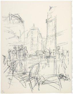 Alberto Giacometti, [Crowd at Intersection], c. 1965 Lithograph, 16 ¾ × 12 ⅞ inches (42.5 × 32.5 cm)Published in Paris sans fin (1969), plate 16© 2014 Alberto Giacometti Estate/Licensed by VAGA and ARS, New York