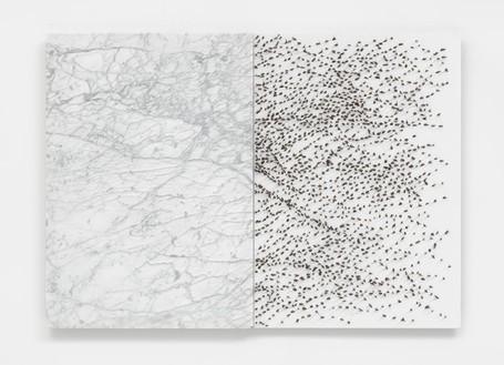 Giuseppe Penone, Pelle di marmo e spine d'acacia—Marta, 2006 Carrara marble, canvas, acrylic, glass microspheres, acacia thorns, 39 ⅜ × 55 ⅛ × 2 ⅜ inches (100 × 140 × 6 cm)© Archivio Penone, photo by Mike Bruce