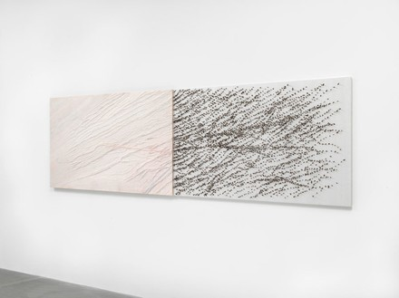 Giuseppe Penone, Pelle di marmo e spine d'acacia—Livia, 2006 Pink marble, canvas, silk, acacia thorns, 39 ⅜ × 139 ¾ × 2 ⅜ inches (100 × 355 × 6 cm)© Archivio Penone, photo by Mike Bruce
