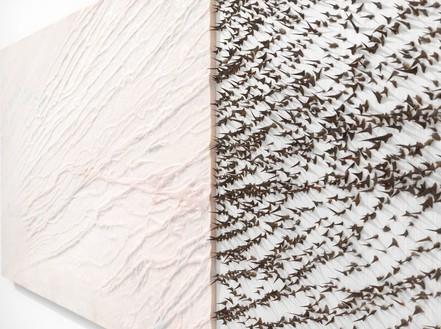 Giuseppe Penone, Pelle di marmo e spine d'acacia—Livia, 2006 (detail) Pink marble, canvas, silk, acacia thorns, 39 ⅜ × 139 ¾ × 2 ⅜ inches (100 × 355 × 6 cm)© Archivio Penone, photo by Mike Bruce