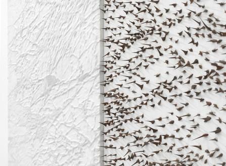 Giuseppe Penone, Pelle di marmo e spine d'acacia—Marta, 2006 (detail) Carrara marble, canvas, acrylic, glass microspheres, acacia thorns, 39 ⅜ × 55 ⅛ × 2 ⅜ inches (100 × 140 × 6 cm)© Archivio Penone, photo by Mike Bruce