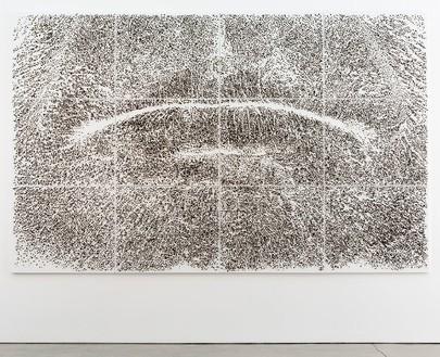 Giuseppe Penone, Spine d'acacia—Contatto, aprile 2006, 2006 Canvas, acrylic, glass microspheres, acacia thorns, 118 ½ × 189 ½ × 2 inches (301 × 481.3 × 5.1 cm)© Giuseppe Penone, photo by Josh White