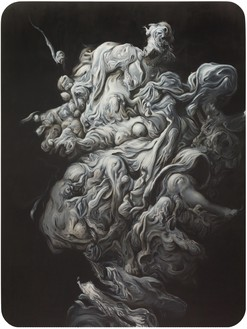 Glenn Brown, The Death of the Virgin, 2012 Oil on panel, 90 ½ × 67 ⅞ inches (230 × 172.5 cm)© Glenn Brown. Photo: Mike Bruce