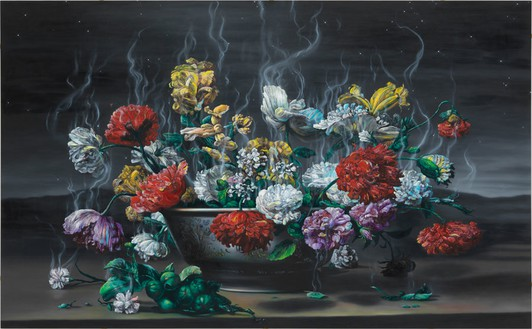 Glenn Brown, Necrophiliac Springtime, 2013 Oil on panel, 78 ¾ × 127 ⅝ inches (200 × 324 cm)© Glenn Brown. Photo: Mike Bruce