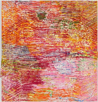 Harmony Korine, Bacc Rox Line, 2014 House paint, acrylic, oil, and collage on canvas, 62 × 66 inches (157.5 × 167.6 cm)Photo by Rob McKeever