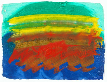 Howard Hodgkin, Party, 1990–91 Hand-painted gouache intaglio impressed Khadi paper, 27 ¼ × 36 inches (69.2 × 91.4 cm)© Howard Hodgkin Estate