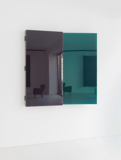 Jean Nouvel, Miroir C, 2014 (view 2) Walnut and colored mirrors, Dimensions variable, edition of 6Photo by Mike Bruce