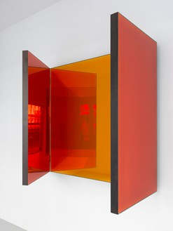 Jean Nouvel, Miroir A, 2014 (view 2) Walnut and colored mirrors, Dimensions variable, edition of 6Photo by Mike Bruce
