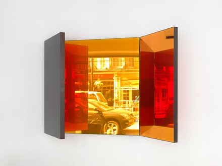 Jean Nouvel, Miroir A, 2014 (view 1) Walnut and colored mirrors, Dimensions variable, edition of 6Photo by Mike Bruce
