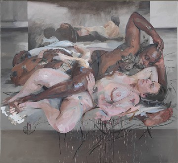 Jenny Saville, Odalisque, 2012–14 Oil and charcoal on canvas, 85 ⅜ × 93 ⅛ inches (217 × 236.5 cm)© Jenny Saville. Photo:​ Mike Bruce