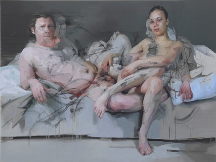 Jenny Saville, Intertwine, 2011–14 Oil on canvas, 86 ⅜ × 114 ⅛ × 2 ½ inches (219.5 × 290 × 6.5 cm)© Jenny Saville. Photo: Mike Bruce