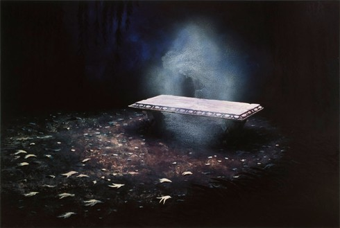 Dan Colen, An Allegory of Faith, 2008 Oil on canvas, 84 × 124 inches (213.4 × 315 cm)© Dan Colen