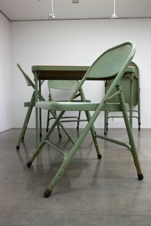 Robert Therrien, No title (Folding table and chairs, green), 2008 Painted metal and fabric, overall dimensions variable© Robert Therrien/Artists Rights Society (ARS), New York