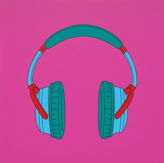 Michael Craig-Martin, Untitled (headphones), 2014 Acrylic on aluminum, 78 ¾ × 78 ¾ inches (200 × 200 cm)