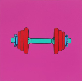 Michael Craig-Martin, Untitled (dumbell), 2014 Acrylic on aluminum, 23 ⅝ × 23 ⅝ inches (60 × 60 cm)Photo by Mike Bruce