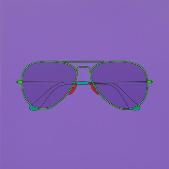 Michael Craig-Martin, Untitled (sunglasses), 2014 Acrylic on aluminum, 78 ¾ × 78 ¾ inches (200 × 200 cm)Photo by Mike Bruce