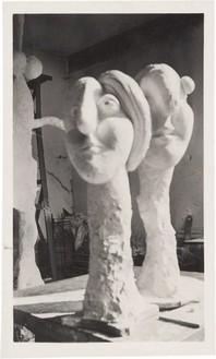 Picasso's sculpture studio, Château de Boisgeloup, France, 1931, with (left to right) La grande statue (1930), Buste de femme (Marie-Thérèse) (1931), and Tête de femme (Marie-Thérèse) (1931) Vintage photograph, 4 ⅜ × 2 ⅝ inches (11.1 × 6.8 cm)Archives Olga Ruiz-Picasso© 2014 Estate of Pablo Picasso/Artists Rights Society (ARS), New York