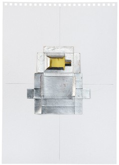 Rachel Whiteread, Untitled (Yellow), 2012 Silver leaf, cardboard, celluloid, and graphite on paper, 16 9/16 × 11 ⅝ inches (42 × 29.5 cm)