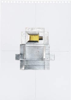 Rachel Whiteread, Untitled (Yellow), 2012 Silver leaf, cardboard, celluloid, and graphite on paper, 16 ⅝ × 11 ⅝ inches (42 × 29.5 cm)© Rachel Whiteread. Photo: Prudence Cumings Associates