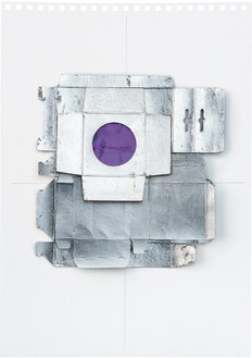 Rachel Whiteread, Untitled (Mauve), 2012 Silver leaf, cardboard, celluloid, and graphite on paper, 16 ⅝ × 11 ⅝ inches (42 × 29.5 cm)© Rachel Whiteread. Photo: Prudence Cumings Associates