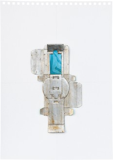 Rachel Whiteread, Untitled (Blue), 2012 Silver leaf, cardboard, celluloid, and graphite on paper, 16 ⅝ × 11 ⅝ inches (42 × 29.5 cm)© Rachel Whiteread. Photo: Prudence Cumings Associates