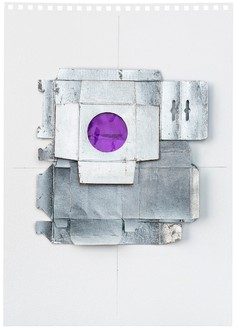 Rachel Whiteread, Untitled (Mauve), 2012 Silver leaf, cardboard, celluloid, and graphite on paper, 16 9/16 × 11 ⅝ inches (42 × 29.5 cm)