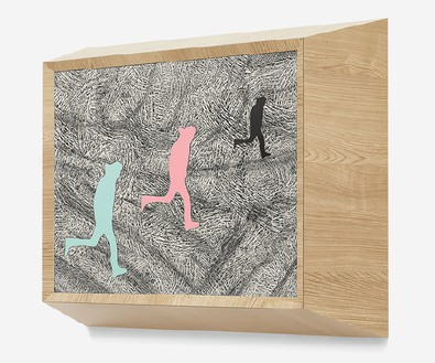 Richard Artschwager, Running Man (triple), 2013 (view 2) Laminate, acrylic on Celotex in artist's frame, 21 ¼ × 25 ½ × 8 inches (54 × 64.8 × 20.3 cm)Photo by Rob McKeever