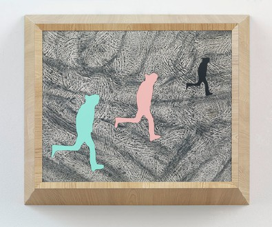 Richard Artschwager, Running Man (triple), 2013 (view 1) Laminate, acrylic on Celotex in artist's frame, 21 ¼ × 25 ½ × 8 inches (54 × 64.8 × 20.3 cm)Photo by Rob McKeever