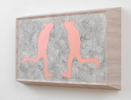 Richard Artschwager, Running Man (double pink), 2013 Laminate, acrylic on Celotex in artist's frame, 28 × 40 ¼ × 8 inches (71.1 × 102.2 × 20.3 cm)Photo by Rob McKeever