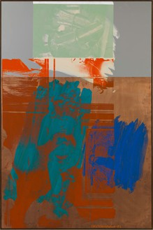Robert Rauschenberg, Aqua Fanfare (Urban Bourbon), 1993 Acrylic on copper and mirrored aluminum, 72 13/16 × 48 13/16 inches (184.9 × 124 cm)© The Robert Rauschenberg Foundation 2014/Licensed by VAGA, New York, photo by Rob McKeever