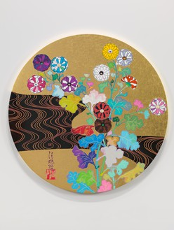 Takashi Murakami, The Golden Age: Kōrin—Kansei, 2014 Acrylic and gold leaf on canvas mounted on wood, diameter: 59 inches  (150 cm)© 2014 Takashi Murakami/Kaikai Kiki Co., Ltd. All Rights Reserved