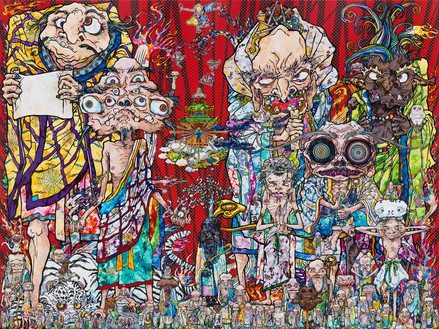 Takashi Murakami, Isle of the Dead, 2014 Acrylic, gold leaf, and platinum leaf on canvas mounted on wood, 141 ¾ × 189 inches (360 × 480 cm)© 2014 Takashi Murakami/Kaikai Kiki Co., Ltd. All Rights Reserved