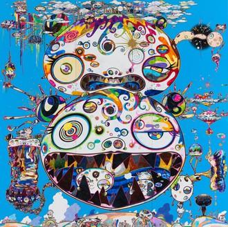 Takashi Murakami, Tan Tan Bo—In Communication, 2014 Acrylic, gold leaf, and platinum leaf on canvas mounted on wood, 141 ¾ × 141 ¾ inches (360 × 360 cm)© 2014 Takashi Murakami/Kaikai Kiki Co., Ltd. All Rights Reserved