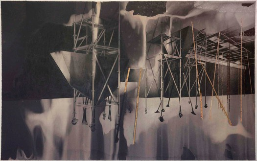 Tatiana Trouvé, Untitled, from the series Les dessouvenus, 2013 Pencil on paper on canvas with bleach and cork, 49 ¼ × 78 ¾ × 1 ⅜ inches (125 × 200 × 3.5 cm)© Tatiana Trouvé. Photo: Laurent Edeline