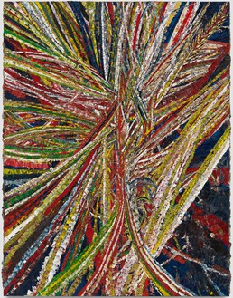 Mark Grotjahn, Untitled (Into and Behind the Green Eyes of the Tiger Monkey Face 43.18), 2011 Oil on cardboard mounted on linen, 48 ⅛ × 37 ⅛ inches (122.2 × 94.1 cm)© Mark Grotjahn
