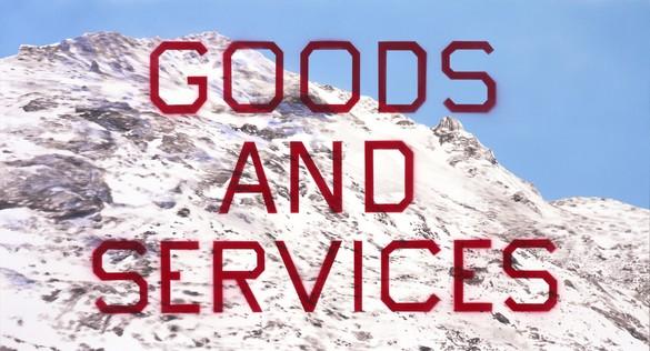 Ed Ruscha, Goods and Services, 2014 Acrylic on canvas, 26 × 48 inches (66 × 122 cm)© Ed Ruscha. Photo: Paul Ruscha