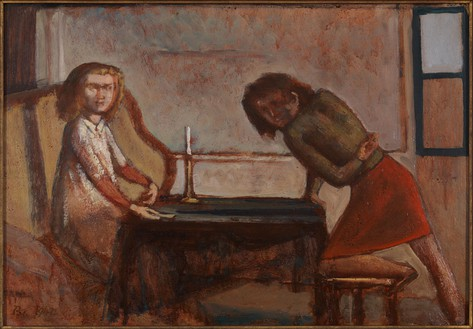 "Balthus, Etude pour ""La Partie de Cartes"" (Study for ""The Card Game""), 1947 Oil on board, 17 ¼ × 24 ¾ inches (43.8 × 62.9 cm)Photo by Rob McKeever"