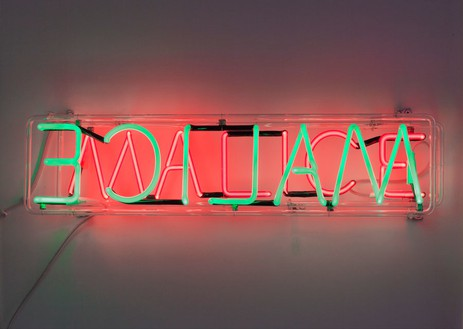 Bruce Nauman, Malice, 1980 Neon tubing with clear glass tubing, 7 × 29 × 3 inches (17.8 × 73.7 × 7.6 cm), edition of 3© Bruce Nauman/Artists Rights Society (ARS), New York