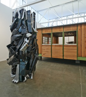 Installation view All sculpture by John Chamberlain © 2015 Fairweather & Fairweather LTD/Artists Rights Society (ARS), New York. © Estate of Jean Prouvé/Artists Rights Society (ARS), New York/ADAGP, Paris. Photo: Tom Powel Imaging