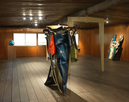 Installation view All sculpture by John Chamberlain © 2015 Fairweather & Fairweather LTD/Artists Rights Society (ARS), New York. © Estate of Jean Prouvé/Artists Rights Society (ARS), New York/ADAGP, Paris. Photo: Rob McKeever
