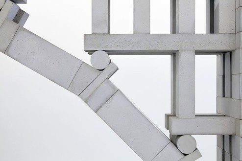 Chris Burden, Three Arch Dry Stack Bridge, ¼ Scale, 2013 (detail) 974 hand-cast concrete blocks and wood base, 46 × 332 ½ × 21 inches (116.8 × 844.6 × 53.3 cm)© Chris Burden/Licensed by The Chris Burden Estate and Artists Rights Society (ARS), New York. Photo: Thomas Lannes