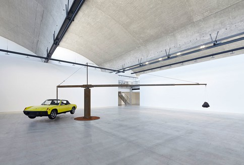 Chris Burden, Porsche with Meteorite, 2013 Restored 1974 Porsche 914, 390-pound meteorite, and steel structure© Chris Burden/Licensed by The Chris Burden Estate and Artists Rights Society (ARS), New York. Photo: Thomas Lannes