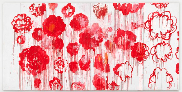 Cy Twombly, Blooming, 2001–08 Acrylic and wax crayon on panel, in 10 parts, 98 ⅜ × 196 ⅞ inches (250 × 500 cm)Private Collection© Cy Twombly Foundation. Photo: Mike Bruce