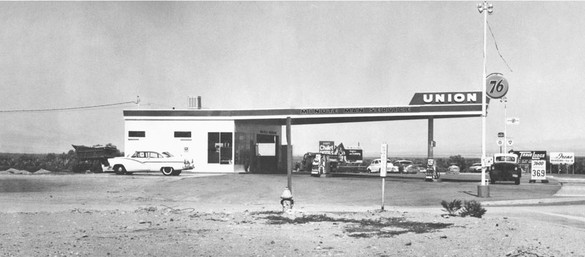 Ed Ruscha, Twentysix Gasoline Stations, 1962 (detail; Union, Needles, California) Artist's book: offset printing on paper, closed: 7 ⅛ × 5 ½ × ¼ inches (18.1 × 14 × 0.5 cm), edition of 400© Ed Ruscha