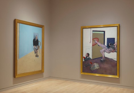 Installation view (left: Study for Self-Portrait, 1982; right: Painting, 1978) Artworks © The Estate of Francis Bacon. All rights reserved. / DACS, London / ARS, NY 2015., photo by Rob McKeeverReproduction, including downloading of—works is prohibited by copyright laws and international conventions without the express written permission of Artists Rights Society (ARS), New York.