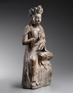 Large figure of Bodhisattva Guanyin (Avalokiteshvara), Song dynasty (960–1279) to early Yuan dynasty (1279–1368)—12th to late 13th century Wood, remains of gesso, traces of beige, pink, red, black, blue polychromy, and gilding, height: 52 ¾ inches (134 cm)Photo: Frédéric Dehaen, Studio Roger Asselberghs