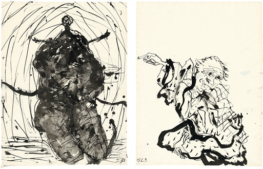 Georg Baselitz, Untitled, 2015 Ink pen, lavis, and india ink on paper, in 2 parts; left: 26 ½ × 20 ¼ inches (67.2 × 51.3 cm); right: 26 ⅛ × 20 ⅛ inches (66.4 × 50.9 cm)© Georg Baselitz 2015. Photo; Jochen Littkemann, Berlin