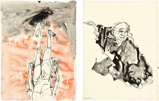 Georg Baselitz, Untitled, 2015 Ink pen, watercolor, and india ink on paper, in 2 parts; left: 26 ⅜ × 20 ⅛ inches (66.8 × 51 cm); right: 26 ⅜ × 20 ⅛ inches (66.9 × 50.9 cm)© Georg Baselitz 2015. Photo; Jochen Littkemann, Berlin