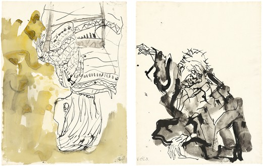 Georg Baselitz, Untitled, 2015 Ink pen, watercolor, and india ink on paper, in 2 parts; left: 26 ⅛ × 20 inches (66.3 × 50.8 cm); right: 26 ⅛ × 20 ⅛ inches (66.2 × 50.9 cm)© Georg Baselitz 2015. Photo: Jochen Littkemann, Berlin
