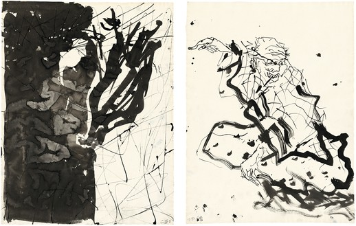 Georg Baselitz, Untitled, 2015 Ink pen and india ink on paper, in 2 parts; left: 26 × 20 ⅛ inches (66.1 × 50.9 cm); right: 25 ⅞ × 19 ¾ inches (65.7 × 50 cm)© Georg Baselitz 2015. Photo: Jochen Littkemann, Berlin